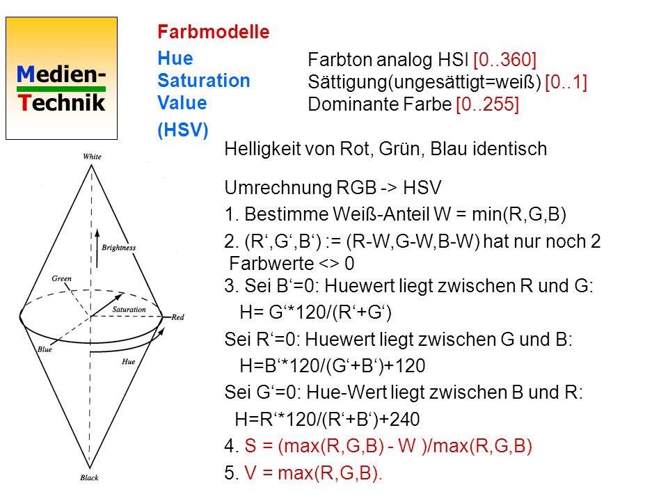 Farbmodelle Hue Saturation Value. (HSV) Farbton analog HSI [0..360] Sättigung(ungesättigt=weiß) [0..1] Dominante Farbe [0..255]